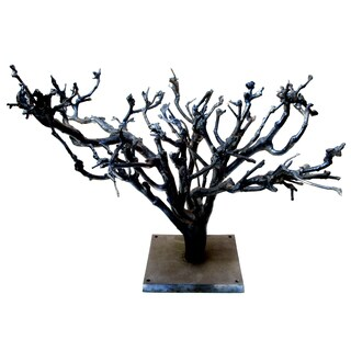 Grey Aluminum Decorative Tree Figurine
