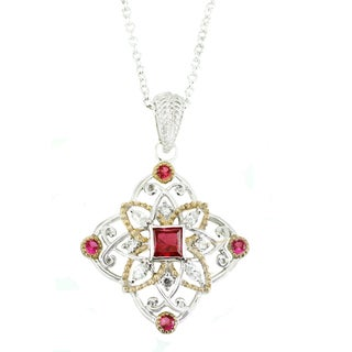 One-of-a-kind Michael Valitutti Created Ruby anc Cubic Zirconia Pendant