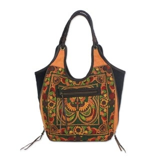 Handcrafted Leather Accent Polyester 'Sunny Pheasants' Embroidered Shoulder Bag (Thailand)