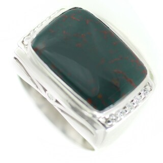 One-of-a-kind Michael Valitutti Men's Bloodstone and White Sapphire Ring