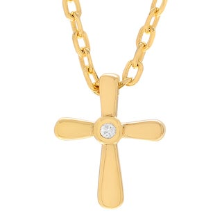 Journee Collection Sterling Silver Cubic Zirconia Accent Cross Necklace
