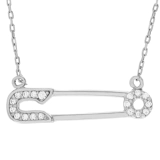 Journee Collection Sterling Silver Cubic Zirconia Safety Pin Necklace