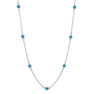 Journee Collection Sterling Silver Created Turquoise Bead Necklace
