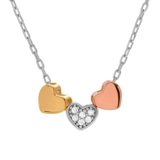 Journee Collection Sterling Silver 3 Tone Cubic Zirconia Heart Necklace