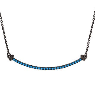 Journee Collection Sterling Silver Turquoise Curved Bar Necklace
