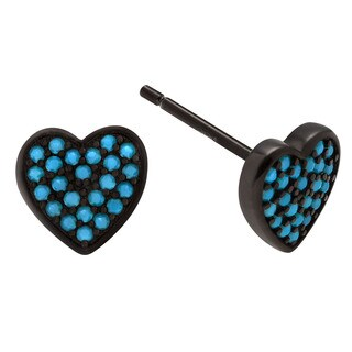 Journee Collection Sterling Silver Turquoise Heart Stud Earrings