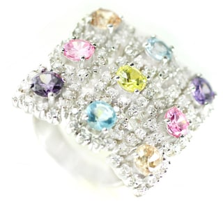 One-of-a-kind Michael Valitutti Multi-Gemstone and Cubic Zirconia Ring