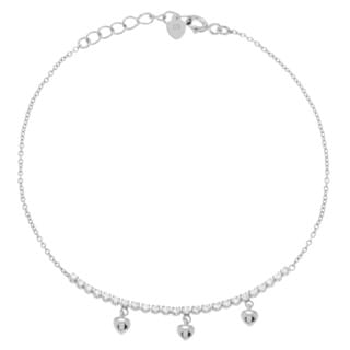 Journee Collection Sterling Silver Cubic Zirconia Bar with Dangling Hearts Bracelet