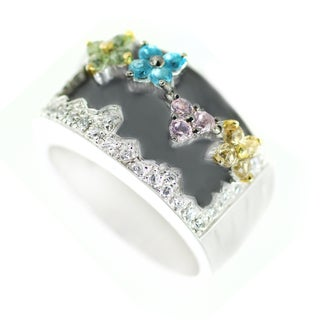 One-of-a-kind Michael Valitutti Cubic Zirconia and Multi-Gemstone Flower Ring