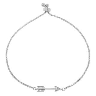 Journee Collection Sterling Silver Cubic Zirconia Arrow Lariat Bracelet