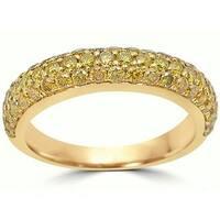 Noori 14k Gold 1ct TDW Round Canary Yellow Diamond Wedding Band Ring