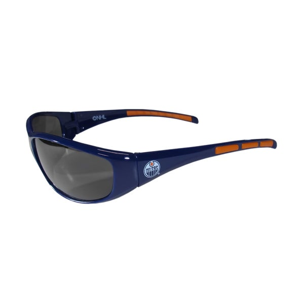 NHL Sports Team Logo Multicolored Rubber-grip Edmonton Oilers Wrap Sunglasses