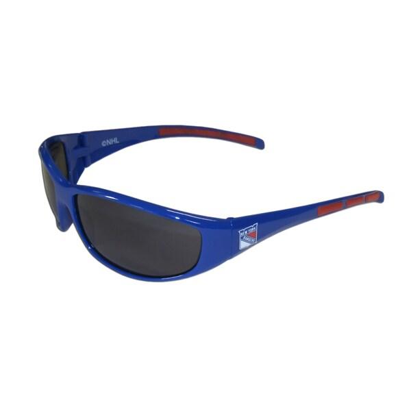 NHL Sports Team Logo New York Rangers Blue Wrap Sunglasses