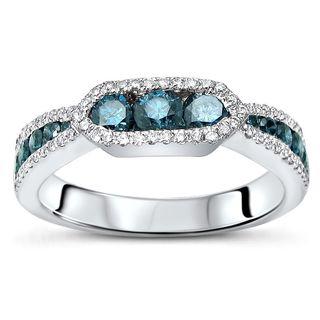 Noori 18k Gold 1ct TDW Blue Diamond Wedding Band Ring
