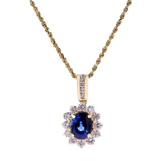 14kt yellow gold Sapphire diamond pendant with chain
