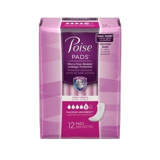 Poise Long Size Maximum Absorbency Pads (Pack of 12)