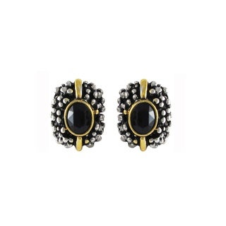 Tri-color Rhodium, Gold and Black Finish Studded Earrings