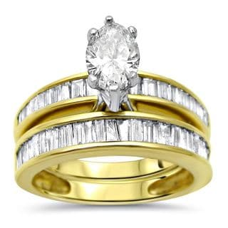 Noori 14k Gold 2ct TDW Marquise Baguette Diamond Engagement Ring Bridal Set