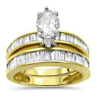 Noori 14k Gold 2ct TDW Marquise Baguette Diamond Engagement Ring Bridal Set - White