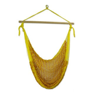 Handcrafted Cotton 'Maya Sunflower' Hammock Swing Chair (Mexico)