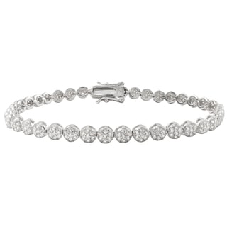 Luxiro Sterling Silver Pave Cubic Zirconia Round Tennis Bracelet