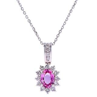 14kt White Gold Pink Sapphire Diamond Pendant