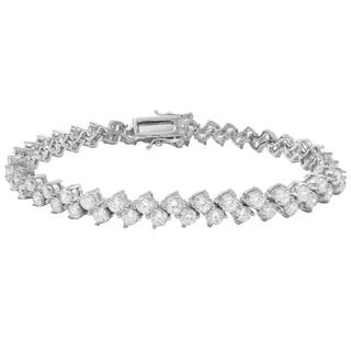 Luxiro Sterling Silver Cubic Zirconia Diagonal Tennis Bracelet