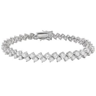 Luxiro Sterling Silver Cubic Zirconia Diagonal Tennis Bracelet