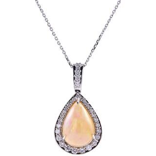 14k White Gold Opal Diamond Pendant