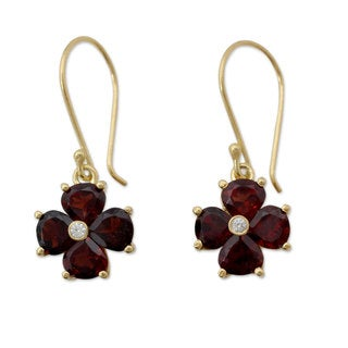 Handcrafted Gold Overlay 'Scarlet Love' Garnet Zirconia Flower Earrings (India)