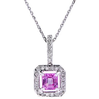 14kt white gold Pink Sapphire diamond pendant with chain