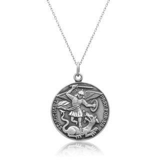 Sterling Silver Saint Michael Pendant Necklace, 18 Inches
