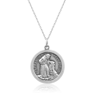 Sterling Silver Saint Francis Pendant Necklace, 18 Inches