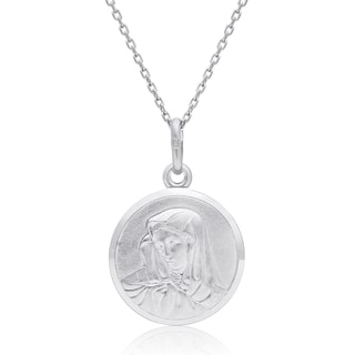 Sterling Silver Round Virgin Mary Pendant Necklace, 18 Inches