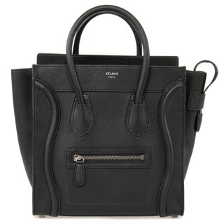 Celine Micro Luggage Tote Bag in Black Pebbled Leather w/ Silver Hardware
