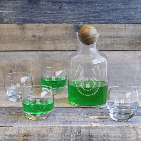 St. Patrick's Day Clear Glass 5-piece Decanter with Wood Stopper Set
