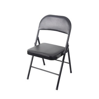 Black PVC/Metal Cushioned Heavy-duty Chair