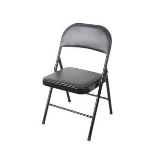 Black PVC/Metal Cushioned Heavy-duty Chair