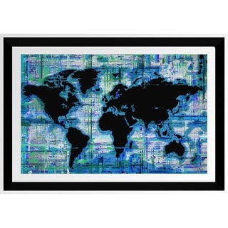 BY Jodi 'Mad World Blue' Framed Plexiglass Wall Art