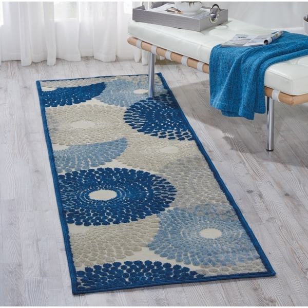 """Nourison Graphic Illusions Ivory/Blue Area Rug (2'3 x 8') - 2'3""""x 8'"""