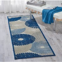 "Nourison Graphic Illusions Ivory/Blue Area Rug (2'3 x 8') - 2'3""x 8'"