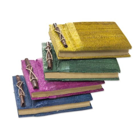 Handmade Set of 4 Natural Fiber 'Ubud Memoirs' Journals (Indonesia)