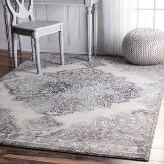 nuLOOM Transitional Medallion Grey Rug (9' x 12')