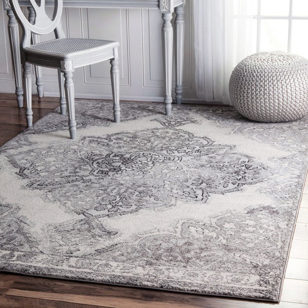 Nuloom Transitional Medallion Grey Rug 9 X 12 Free