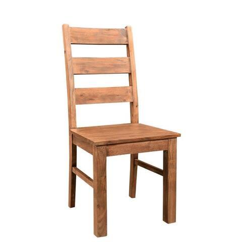 "Handmade Angled Acacia Wood Chairs, Set of 2 (India) - 40""H x 18""W x 18""D"