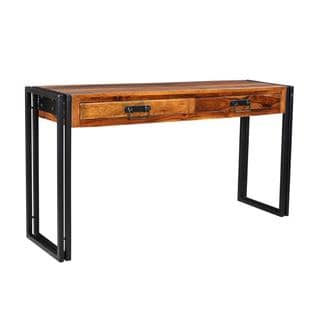 Timbergirl Solid Seesham Wood Console Table with Metal Legs