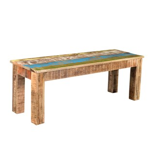 Handmade Timbergirl Suman Rustic Multicolor Bench (India)