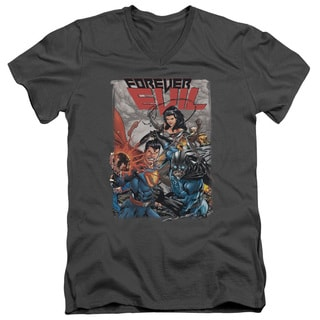 JLA/Crime Syndicate Short Sleeve Adult T-Shirt V-Neck 30/1 in Charcoal