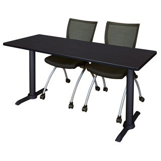 Regency Seating Cain Black 60-inch Training Table With 2 Apprentice Chairs