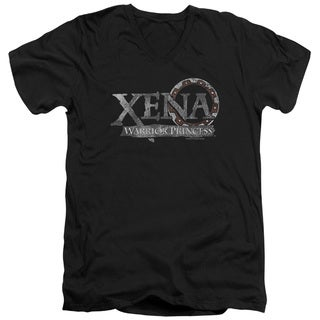 Xena/Battered Logo Short Sleeve Adult T-Shirt V-Neck 30/1 in Black